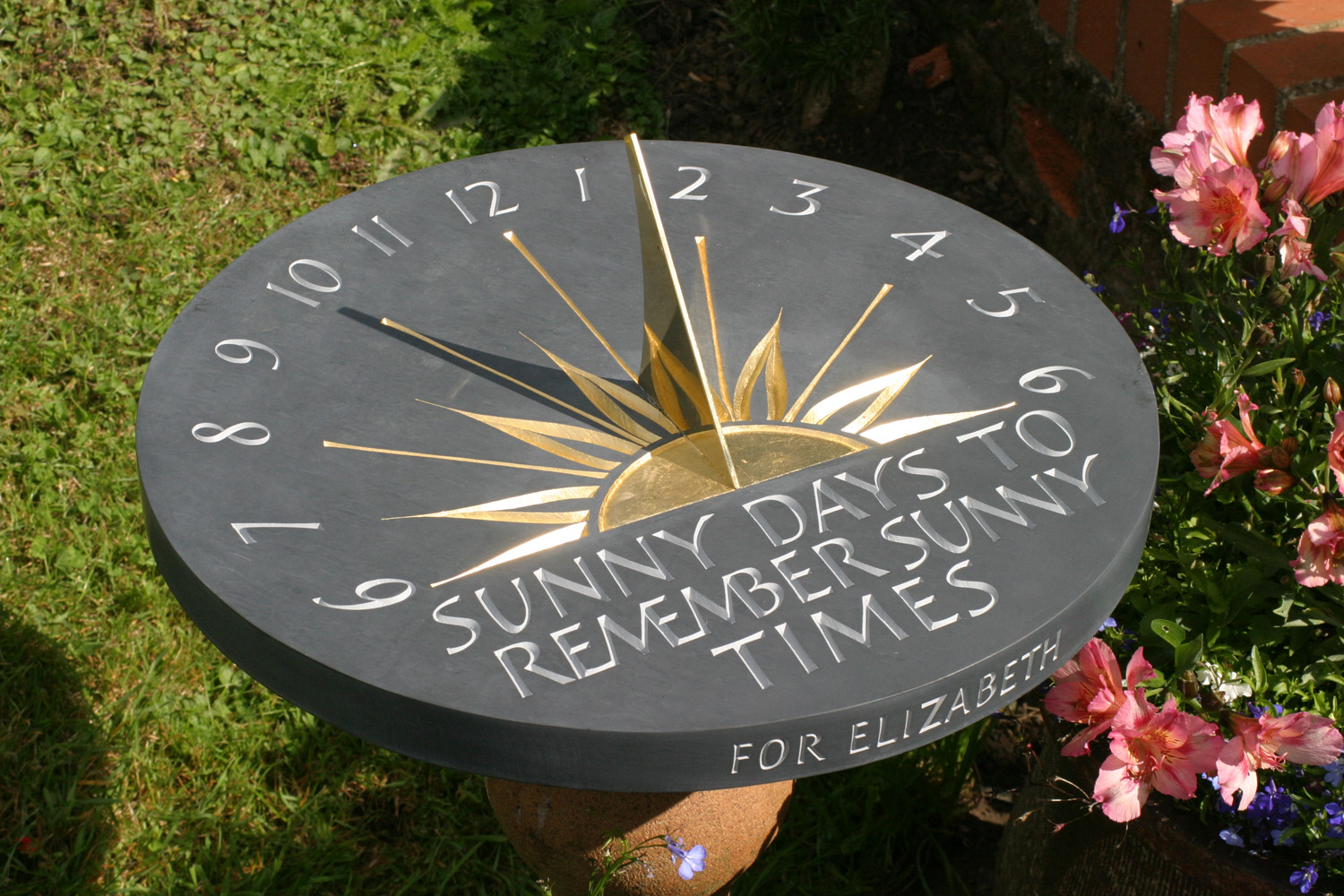 welsh slate and gilded sundial
