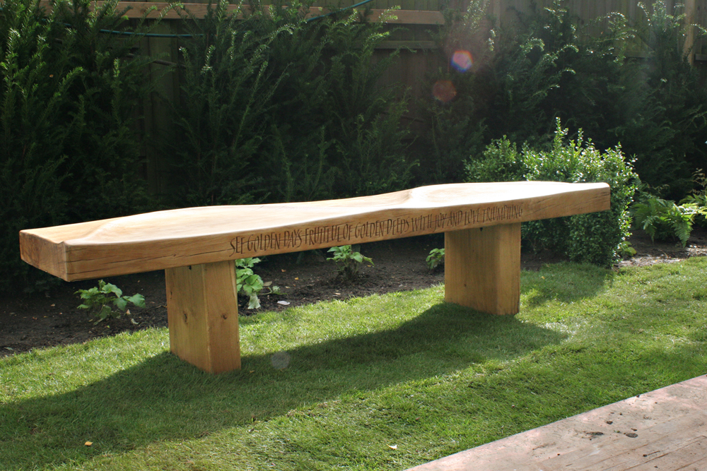 Oak bench carved by Martin Cook