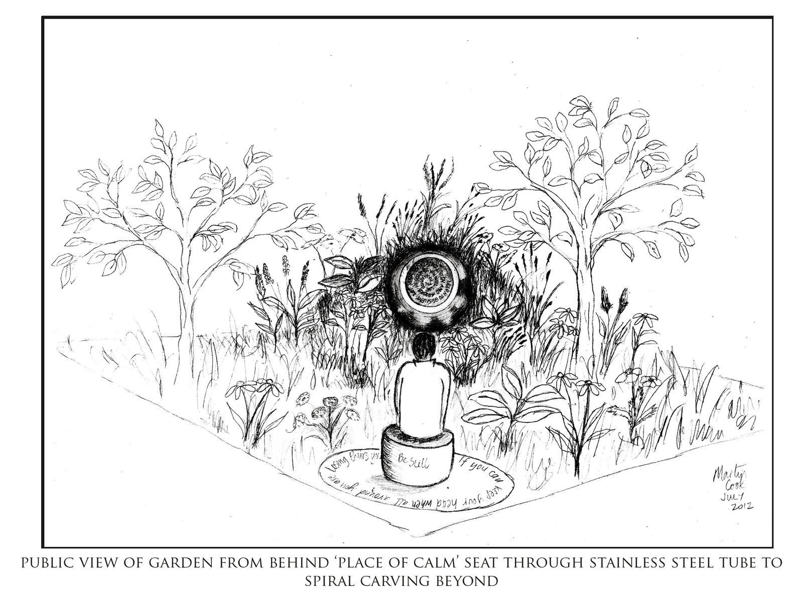 Martin Cooks artist impression of the Mindfulness Garden for Chelsea Flower Show 2013
