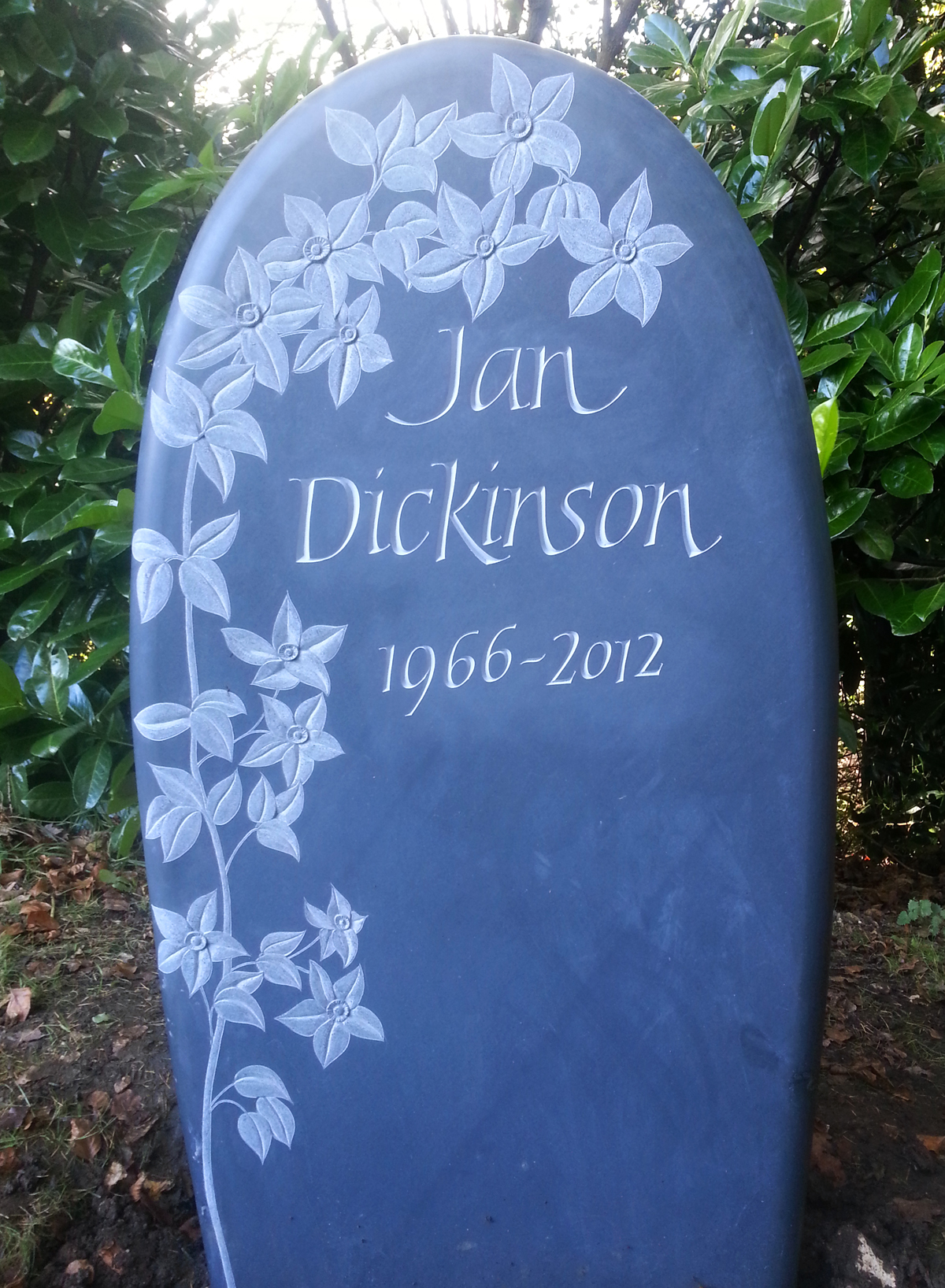 Welsh slate hand carved memorial by Martin Cook
