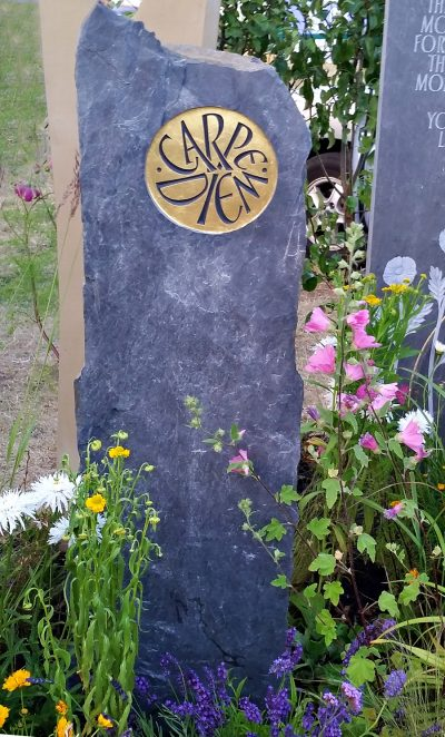 Hand carved Welsh riven slate standing stone