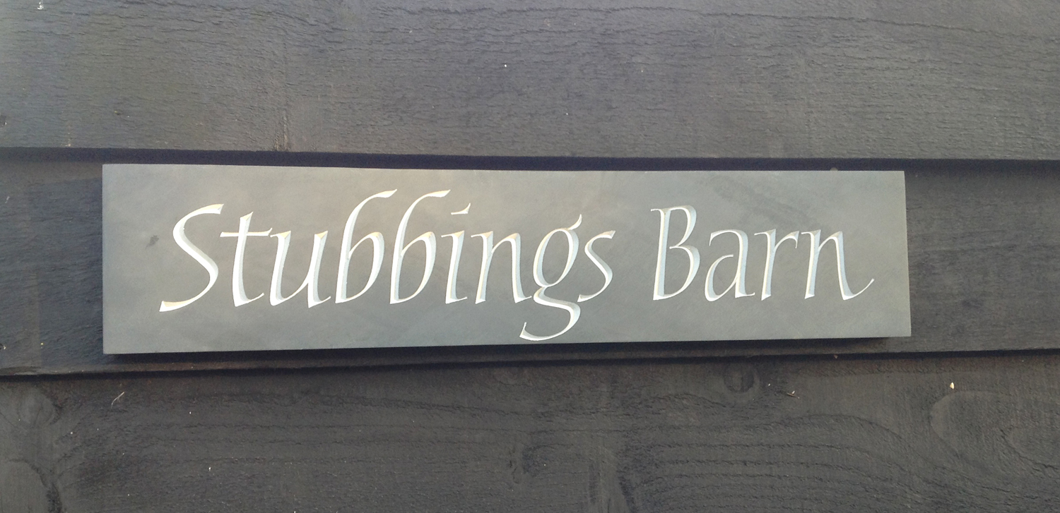 House sign hand carved lettering in Welsh slate
