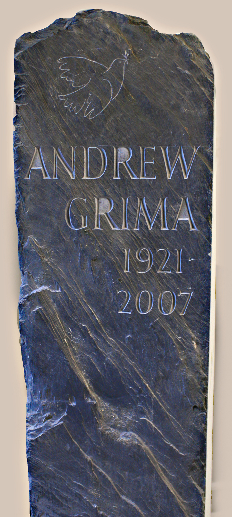 Riven Welsh slate headstone