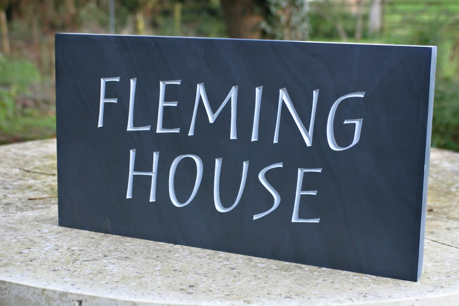 hand carved slate house sign
