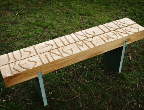 Oak Carved Garden bench with slate legs