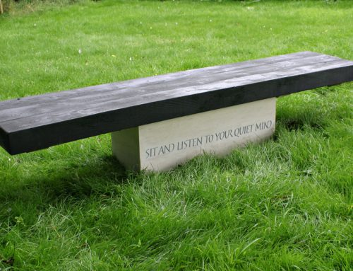 Portland Stone and wood carved bench