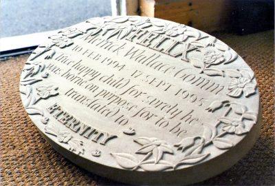 Portland stone memorial plaque