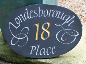 welsh slate house sign